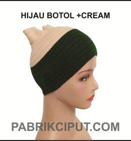 Bandana Rajut Hijau Botol dan Cream