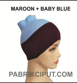 Bandana Rajut Maroon dan Baby Blue