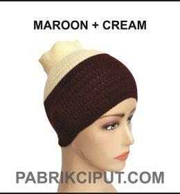 Bandana Rajut Maroon dan Cream