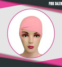 ciput rajut anti pusing kerut warna pink salem