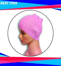 Ciput Rajut Bandana Zigzag 1 Warna - Warna Baby Pink