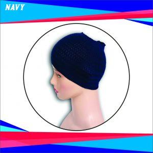 Ciput Rajut Bandana Zigzag 1 Warna - Warna Navy