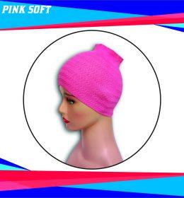 Ciput Rajut Bandana Zigzag 1 Warna - Warna Pink Soft